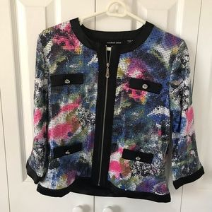 Michael Simon Multicolor Sequined Zip Up Top